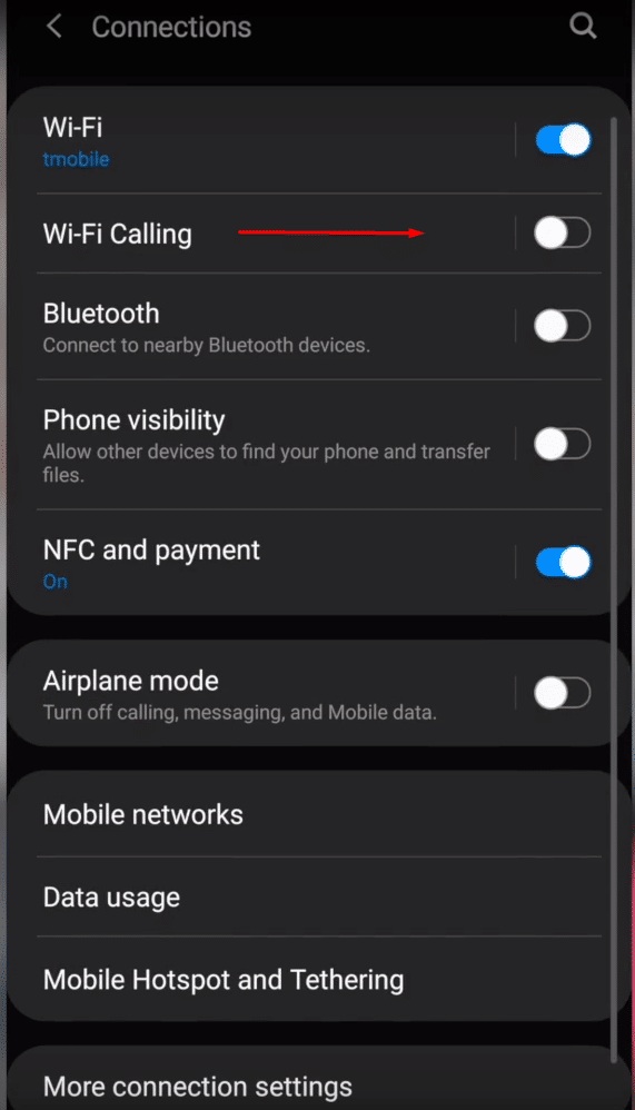 how to turn off wifi calling s8